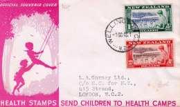 NEW ZEALAND 1948 - 2 Fach Frankierung Auf Briefvorderseite, Gel.v.Wellington > London - Neuseeland