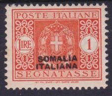 COLONIE ITALIANE SOMALIA 1934 Segnatasse L.1 / Gomma Integra Sassone 60     Prezzo Di Catalogo Euro 87,50 - Somalie