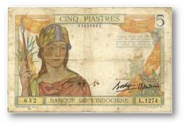 FRENCH INDO-CHINA - 5 PIASTRES - P 55.b - Sign. 9 ( 1936 ) Type I ( Old LAO Text ) Serie L.1274 Banque De L´ Indochine - Indochina