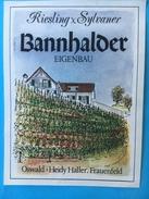 1605 - Suisse Riesling Sylvaner Bannhalder Eigenbau Haller Frauenfeld 2 étiquettes - Etiquettes