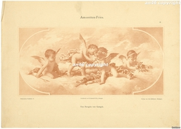 STAMPA-GRAVURE-AMORETTEN-FRIES_ VON PEREGRIN VON GASTGEB-25 X 35-ANGOLO SCIUPATO-BUONA CONSERVAZIONE- - Estampes & Gravures