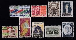 DENMARK, 1970, Used Stamp(s), Various Stamps, MI 491=506, #10101 , 9 Values - Oblitérés
