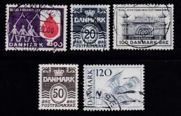 DENMARK, 1974, Used Stamp(s), Various Stamps, MI 555=579, #10114 5 Values - Denmark