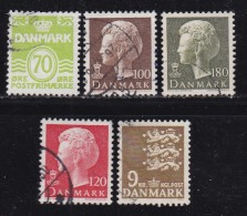 DENMARK, 1977, Used Stamp(s), Definitives,  MI 648-652, #10137 5 Values - Denmark