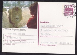 Germany: Stationery Illustrated Postcard, 1988, Lion, Zoo Duisburg, Cancel 'cancelled At Destination' (traces Of Use) - Brieven En Documenten