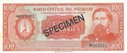 PARAGUAY 100 GUARANIES 1952 (1963) P-199 UNC SPECIMEN * 006531 [ PY815cs ] - Paraguay