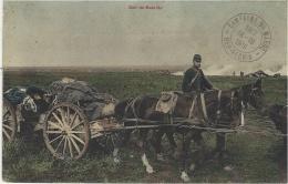 """1910- """" Soir De Bataille"""" Attelage De Canon """" Colorisé - Cachet -Campagne Du Maroc / BER-RECHID - Morocco"""