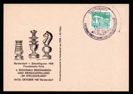 A4178) Schach Sonderstempel Auf Karte Borstendorf 24.10.87 Chess - Schach