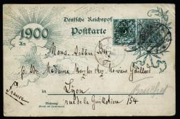 A4180) DR Karte Von Konstanz 26.4.1900 Nach Lyon MiF Krone/Adler-Reichspost - Deutschland