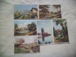 LOT DE 6 ILLUSTRATIONS PAYSAGES... - Cartes Postales