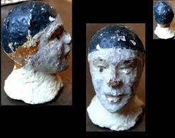 Ancienne Tête De Pierrot Lunaire XIXème / Old French Head Puppet XIXth Century - Marionetas