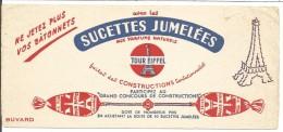 BUVARD SUCETTES JUMELEES TOUR EIFFEL - Carte Assorbenti