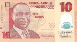 NIGERIA 10 NAIRA 2011 P-39 UNC 6 DIGIT SER. SIGN. 19.  [ NG235f ] - Nigeria