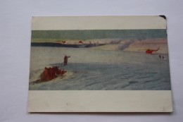"""AVIATION IN ART - """"Franz Josef Land"""" By Ruban - Helicopter - Aerodrome - OLD USSR Postcard- PC 1955 - VERY RARE! - Helicópteros"""