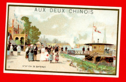 Paris, Aux Deux Chinois,  Légaré, Chromo Lith. J. Minot, Station De Bateaux - Trade Cards