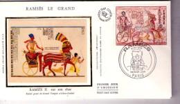 Ramses II-sur Son Char-France FDC Soie - Egyptology