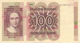 NORWAY 100 KRONER 1980 P-41b VF [NO041b] - Noorwegen