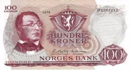 NORWAY 100 KRONER 1975 P-38g AU/UNC S/N - Ø2597212  [ NO038g ] - Norway