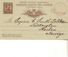 1884-intero Postale Viaggiato - 1861-78 Vittorio Emanuele II