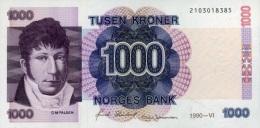 * NORWAY 1000 KRONER 1990 P-45a UNC  [ NO045a ] - Norvegia