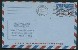 1960  Stati Uniti, Primo Volo First Flight AIR INDIA BOEING 707 New York - India, Timbro Di Arrivo Al Verso - United States