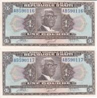 PAREJA CORRELATIVA DE HAITI DE 1 GOURDE DEL AÑO 1973   (BANK NOTE) SIN CIRCULAR-UNCIRCULATED - Haiti