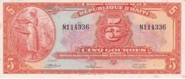 BILLETE DE HAITI DE 5 GOURDES DEL AÑO 1919   (BANK NOTE) SIN CIRCULAR-UNCIRCULATED (MANCHAS) - Haiti