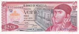 BILLETE DE MEXICO DE 20 PESOS  DEL AÑO 1973  (BANKNOTE) SIN CIRCULAR-UNCIRCULATED - México