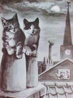 Cpa Chat , 2 CHATS PERTURBATEURS Sur Un TOIT ,  Lune Clocher  , Cat Kitten On Roof , Katze , AWAKE ! - Chats