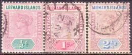LEEWARD ISLANDS 1890 SG #1-3 Part Set Used - Leeward  Islands