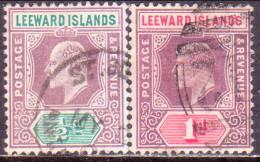 LEEWARD ISLANDS 1906 SG #29-30 ½d,1d Used Wmk Mult. Crown CA - Leeward  Islands