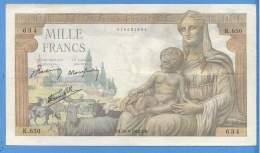 1000 Francs Déesse Déméter  K.650  20/06/1942 - N:634 - 1 000 F 1942-1943 ''Déesse Déméter''
