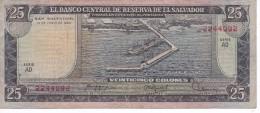 BILLETE DE EL SALVADOR DE 25 COLONES DEL AÑO 1980 DE CRISTOBAL COLON   (BANKNOTE) - El Salvador