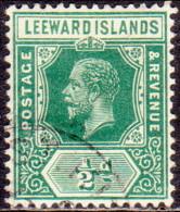LEEWARD ISLANDS 1916 SG #47a ½d Used Wmk Mult. Crown CA Deep Green - Leeward  Islands