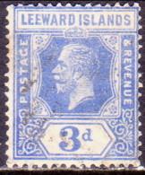 LEEWARD ISLANDS 1923 SG #68 3d Used Light Ultramarine Wmk Script Crown CA CV £38 - Leeward  Islands
