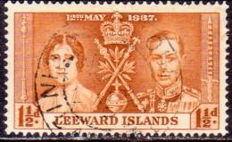 LEEWARD ISLANDS 1937 SG #93 1½d Used Coronation - Leeward  Islands
