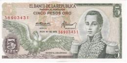 BILLETE DE COLOMBIA DE 5 PESOS ORO DEL AÑO 1975   (BANK NOTE) SIN CIRCULAR-UNCIRCULATED - Colombia