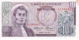 BILLETE DE COLOMBIA DE 10 PESOS ORO DEL AÑO 1975 SIN CIRCULAR-UNCIRCULATED   (BANK NOTE) (MANCHA) - Colombia