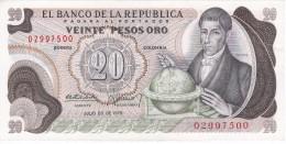 BILLETE DE COLOMBIA DE 20 PESOS DE ORO DEL AÑO 1975  (BANK NOTE) - Colombia