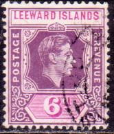 LEEWARD ISLANDS 1947 SG #109b 6d Used Purple And Deep Magenta - Leeward  Islands