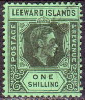 LEEWARD ISLANDS 1938 SG #110 1sh Used Black On Emerald - Leeward  Islands