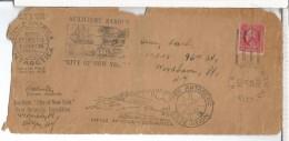 USA CC BYRD ANTARCTIC EXPEDITION 1920 DESDE EL BUQUE SS CITY OF NEW YORK VARIANTE DE MATASELLOS SIN SERIF (RARO) OJO SOB - Spedizioni Antartiche