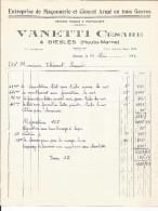 Vielle Facture - Vanetti Cesare Biesles - Maçonnerie - 1943 - France