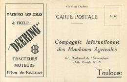 RARE TOULOUSE COMPAGNIE INTERNATIONALE DES MACHINES AGRICOLES DEERING 61 BD DE L'EMBOUCHURE - Toulouse