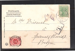 1904 DERNAU > POSTAGE DUE FURNES België (r271) - Germany