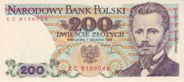POLAND 200 ZLOTYCH 1988 P-144c UNC  [ PL836e ] - Poland
