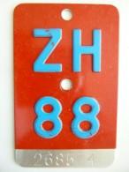 """SCHWEIZ / SUISSE // Alte VELONUMMER 1988, Kanton ZÜRICH, """"ZH 88"""" - Plaques D'immatriculation"""