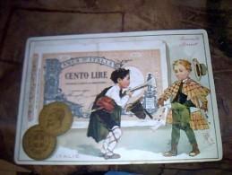 Vieux Papier Chromo Dessin Humouristique  Biscuit Pernot Billet De Banque Italie - Cromo