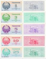 UZBEKISTAN Set (5v) 1 3 5 10 25 Sum *UNC* - Ouzbékistan