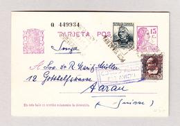 Spanien 5.2.1937 Ganzsache Mit Zusatzfrankatur Als Flugpost Nach Aarau - 1931-Aujourd'hui: II. République - ....Juan Carlos I